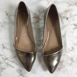 Madewell Mira Flats Leather Metallic Crome Silver